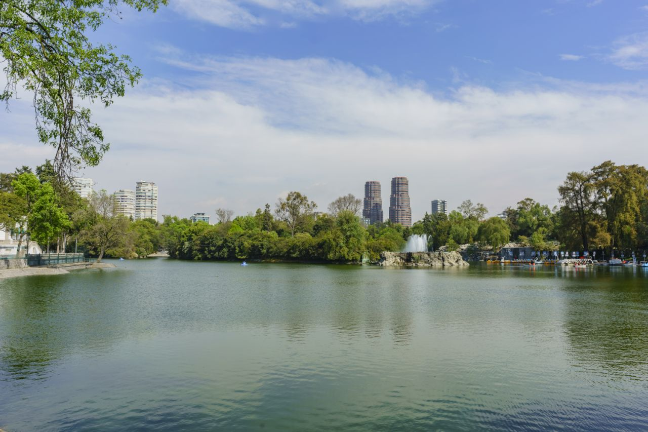 The lake Chapultepec in the zoo of Mexico City
