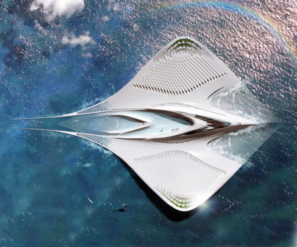 Una ciudad flotante en forma de mantarraya